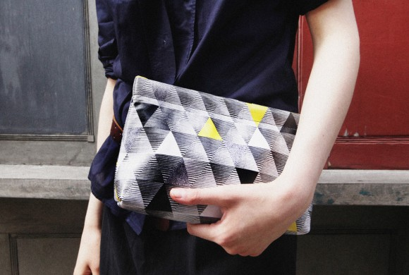 Clutch, in Yellow Triangle Print
