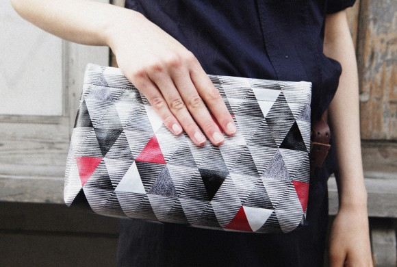 Clutch, in Red Triangle Print