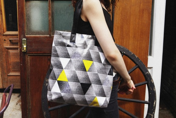 Shopper, in Yellow Triangle Print