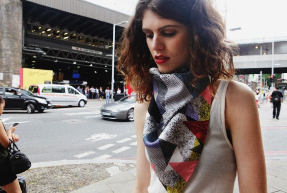 Silk Scarf, in Asphalt Tile Print