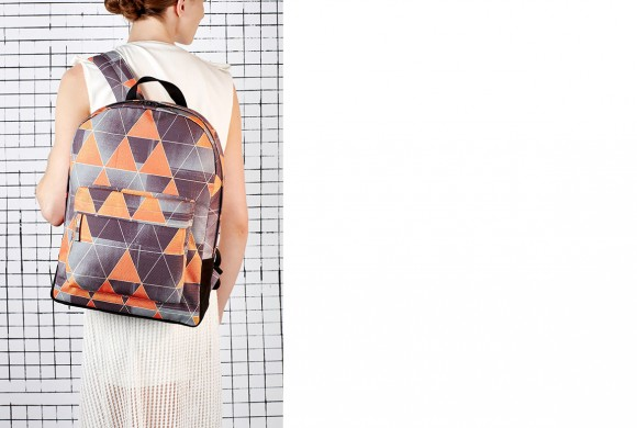 Backpack Laptop, Green Triangle Print