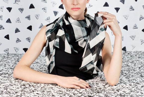 Chiffon Silk Scarf, Black Window Print