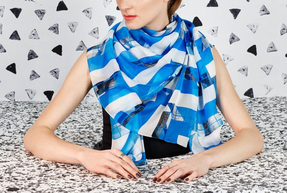 Chiffon Silk Scarf, Blue Window Print