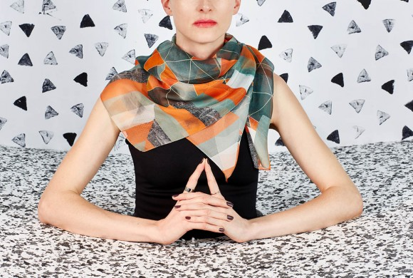 Chiffon Silk Scarf, Green Triangle