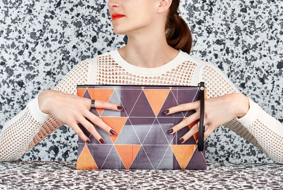 Clutch, Green Triangle Print
